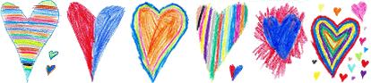 Kinderzeichnung aus vielen bunten Herzen